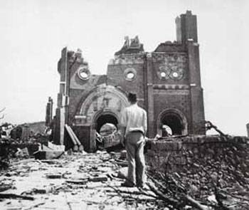 The Catholic Cathedral of Urakami, in Nagasaki, destroyed by the atomic bomb on 9 August, 1945
