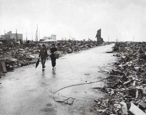 Hiroshima destroyed by the atomic bomb on 6 August 1945