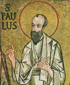 Mosaics from the Palatine Chapel (12th century), Palermo; St. Paul, detail