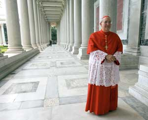 Cardinal Agostino Vallini in the portico of the Basilica of St. Paul Outside the Walls