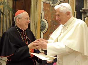 Benedict XVI with Cardinal Vallini at the meeting with the officials of the Vicariate of Rome during which the appointment of the new Vicar for the diocese of Rome was announced, 