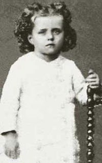 Theresa, last of nine children, at the age of three and a half, in a photo of July  1876