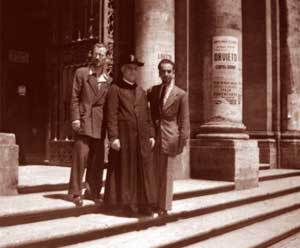 Don Pietro on the parvis of the Basilica 