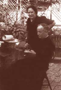 Don Pietro on the small  terrace of his house in Via Urbana in the company of the housekeeper  Maria Teresa Nallo