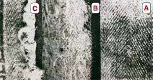 The fabric of the Shroud (A) compared with similar Egyptian tissues (B and C) dating to the second century A.D.