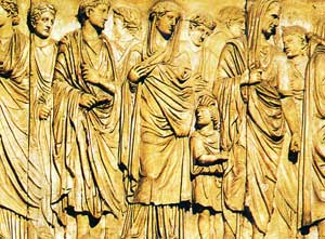 Corteo imperiale, particolare del bassorilievo dell'Ara Pacis Augustae, a Roma