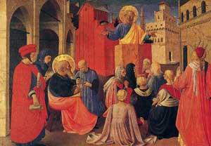 Predica di san Pietro alla presenza di san Marco, Tabernacolo dei linaioli,  Beato Angelico, Museo di San Marco, Firenze