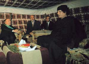 Gaddafi in Tripoli on 7 October 2008 with Giulio Andreotti. To the right of the Libyan leader, Ambassador Gaddur