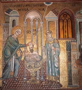 Mosaico del XIII secolo della Cattedrale di Monreale, Palermo; Anania battezza Paolo