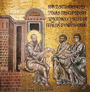 Paolo consegna le lettere a Timoteo