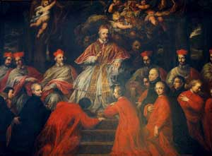 <I>Pope Julius III ratifying the foundation of the German College with the Bull Dum sollicita of 31 August 1552</I>, unknown artist, German College, Rome