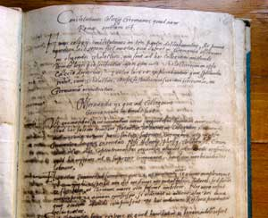 "The original text of the Constitution of the German College written by St Ignatius of Loyola in 1552. It contains the ""rules of life"", or first ""order 