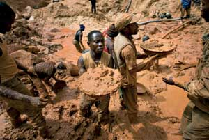 A gold mine at Kilomoto, near Bunia, chief town of Ituri