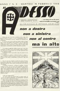 The first page of a number of <I>Adesso</I>, the magazine founded in 1949 by Don Mazzolari