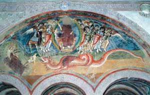 The fresco on the inner facade of the church of San Pietro al monte Pedale near Civate (Lecco) depicting chapter XII of the Apocalypse
