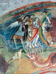The battle of the angels led by the Archangel Michael against the red dragon who tries to devour the child that is snatched away from its fangs and carried into heaven