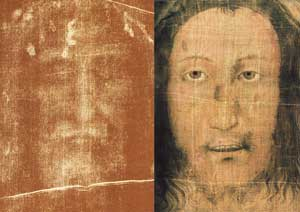 Left, the face of the Shroud; right, the face of the Veil of Manoppello. The dimensions of the two images correspond geometrically