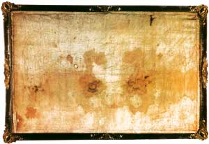 The Sudarium of Oviedo (Asturias, Spain). According to one tradition, it is the cloth with which Jesus' face was covered during the deposition from the cross and removal to the tomb. The blood stains imprinted on it are compatible, in composition, blood group and geometric distribution, with those present on the Shroud of Turin