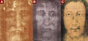 A - the face of the Shroud of Turin; 