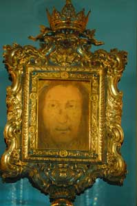 The Veil of the Holy Countenance of Manoppello in the reliquary currently 