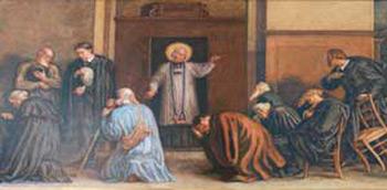 Giovanni Maria Vianney davanti al suo confessionale, tela di Paul Borel conservata nel santuario di Ars