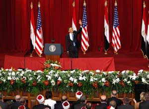 Obama during his speech at the Islamic Al-Azhar University, Cairo, 4 June 2009 [© Associated Press/LaPresse]