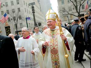 Timothy Michael Dolan in front of Saint Patrick's Cathedral, on 15 April 2009, the day in which he took possession of the diocese of New York [© Associated Press/LaPresse]