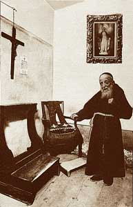 Father Leopoldo in his cell-confessional