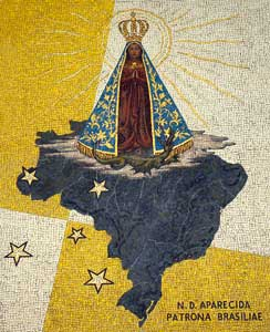 The large mosaic depicting Nossa Senhora Aparecida, patroness of Brazil, in the entrance hall of the College