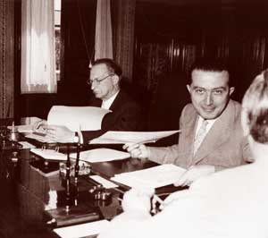 Alcide De Gasperi and Giulio Andreotti at a meeting of the government in 1948