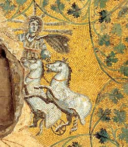 Christ represented in the likeness of Helios (the Sun) ascending to heaven on his chariot, third-century mosaic in the vault of the Mausoleum of the Giulii inside the Vatican Necropolis, near the tomb of Peter [© Fabric 