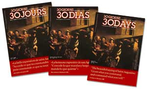 The covers of the French, Spanish and English editions of <I>30Days</I>, n. 8, 2009