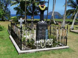 The tomb of Father Damien in Kalawao, Hawaii islands; the saint's body remained buried here until 1936, when it was transferred to Belgium