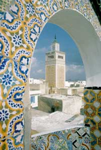 The minaret of the mosque in the old city of Tunis [© Corbis]