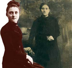 Cecilia Eusepi and, left, Theresa of Lisieux, both at the age of 15