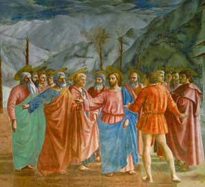 <I>Il tributo</I>, Masaccio, Cappella Brancacci, chiesa di Santa Maria del Carmine, Firenze