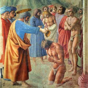 <I>Pietro battezza i neofiti</I>, particolare, Masaccio, Cappella Brancacci, chiesa di Santa Maria del Carmine, Firenze
