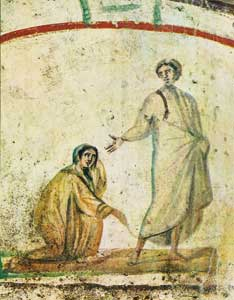 <I>The healing of the woman with the hemorrhage</I>, Catacombs of Saints Marcellinus and Peter, Rome