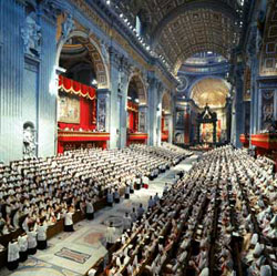 Saint Peter's Basilica during the Second Vatican Council