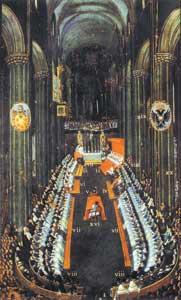 <I>La sessione conclusiva  <br /> del Concilio di Trento nel 1563</I>,  <br /> dipinto di Nicolò Dorigati, 1692-1748
