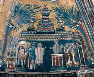 Detail of the apsidal mosaic in the Basilica of St Ambrose, Milan