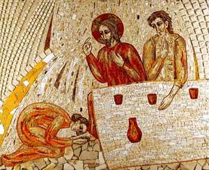 <I>Gesù a mensa con i peccatori</I>,  mosaico di padre Marko Ivan Rupnik