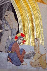 <I>Il perdono alla donna adultera</I>,  mosaico di padre Marko Ivan Rupnik