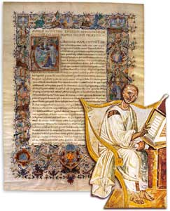 St Augustine in a 6th century fresco, Lateran, Rome; in the background, the opening words of the <I>De civitate Dei</I> in a 15th century codex preserved in the Chapter Library of Verona