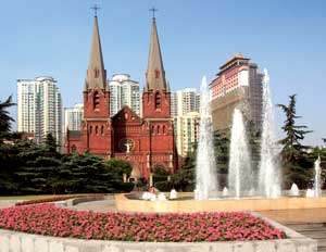 The facade of Xujiahui Cathedral, Shanghai <BR>[© Imaginechina/Contrasto]