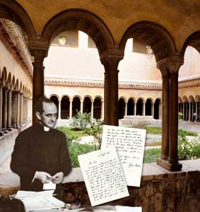 Giovanni Battista Montini in the years in which he was in the Secretariat of State. In the background, the cloister of the Santi Quattro Coronati, in Rome