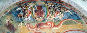 The fresco of the church of San Pietro on Mount Pedale, near Civate (Lecco), which depicts Chapter 12 of the Apocalypse