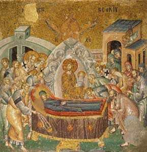 <I>Dormition of the Virgin</I>, mosaic of the church of Christ Savior in Chora, circa1320, Kariye Camii Museum, Istanbul, Turkey