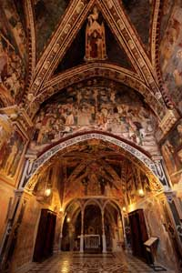 The interior of the upper church of Sacro Speco, with frescoes of the Sienese school from the second half of the fourteenth century <BR>[© Massimo Quattrucci]