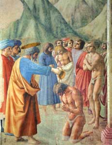 Masaccio's fresco <I>The Baptism of the Neophytes</I>, in the Brancacci Chapel of the Santa Maria del Carmine church, Florence